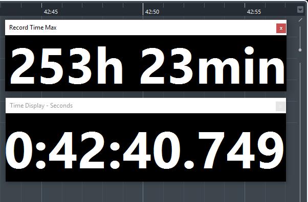 time display - cubase